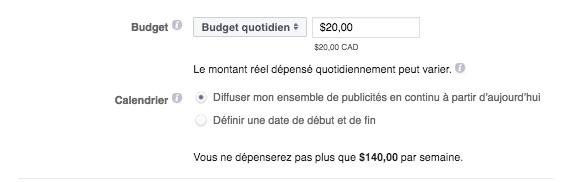 budget calendrier pub instagram