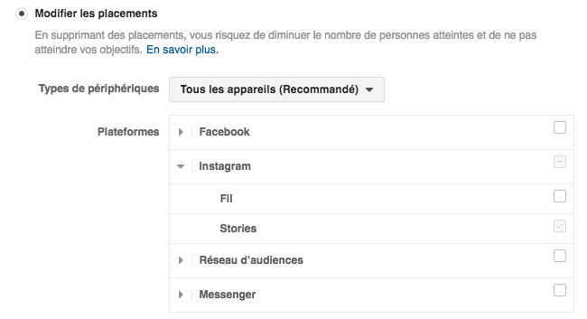 placement publicité instagram